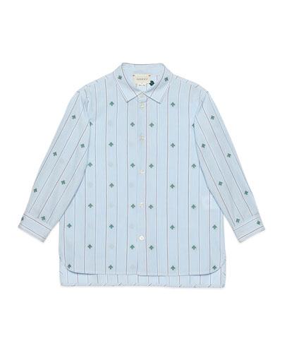 Boy's Striped Bee Fil Coupe Button-Down Shirt, Size 4-12