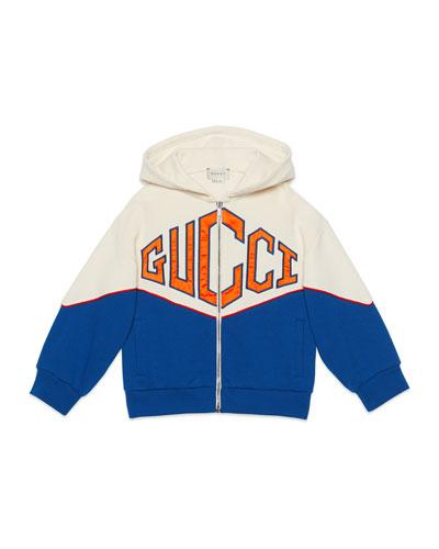Big Logo Bicolor Zip-Front Hooded Fleece Jacket, Size 4-12