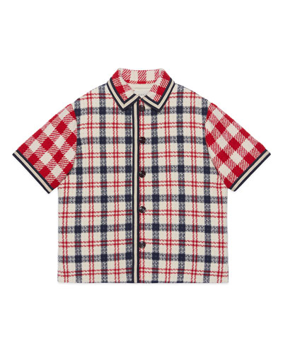 Boy's Mixed Check Short-Sleeve Button-Front Jacket, Size 4-10