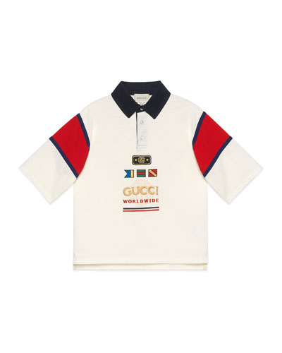 Boy's Rugby Polo Shirt w/ Embroidered Sailing Flags, Size 4-12