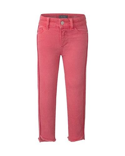 Girl's Chloe Skinny Raw-Hem Jeans, Size 7-16