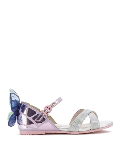 Chiara Mirror Leather Butterfly Wing Sandals, Toddler/Kids