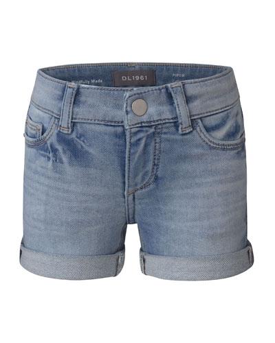 Girl's Piper Cuffed Denim Shorts, Size 7-16