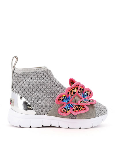 Riva Knit Mid-Top Sneakers w/ 3D Butterfly Details, Baby/Toddler/Kids