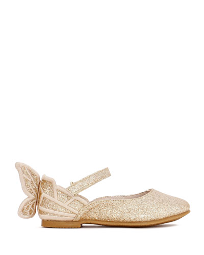 Chiara Fine Glitter Butterfly Mary Jane Flats, Baby/Toddler
