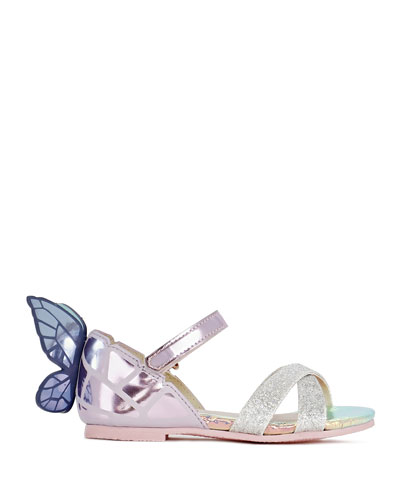 Chiara Mirrored Leather Butterfly Sandals, Baby/Toddler