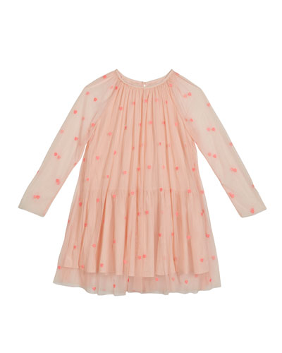 Girl's Embroidered Hearts Long-Sleeve Tulle Dress, Size 4-14