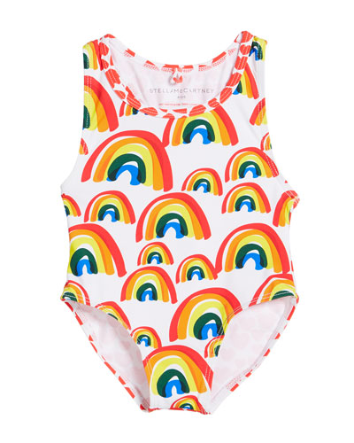 Girl's Rainbow & Hearts One-Piece Swimsuit, Size 12-36 Months
