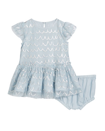 Girl's Shell Foil Short-Sleeve Tulle Dress w/ Bloomers, Size 12-36 Months