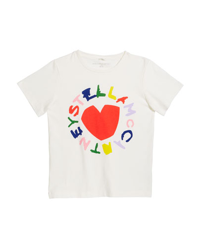 Girl's Heart Logo Short-Sleeve Tee, Size 4-14