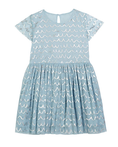Girl's Shell Foil Short-Sleeve Tulle Dress, Size 4-14