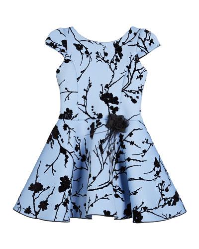 Girl's Skylar Flocked Cap-Sleeve Neoprene Dress, Size 4-6X