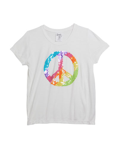 Girl's Short-Sleeve Peace Sign Tee, Size S-XL