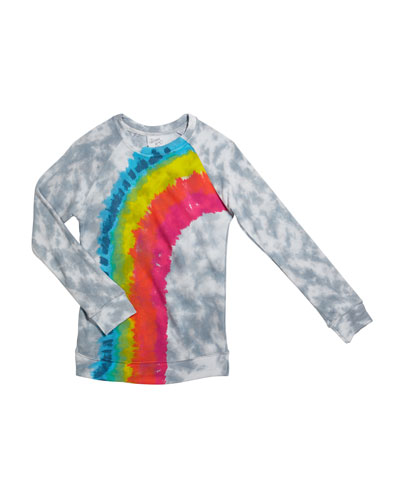 Girl's Tie Dye Rainbow Long-Sleeve Tee, Size S-XL