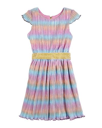 Girl's Lia Rainbow Metallic Micro Pleated Swing Dress, Size 7-16