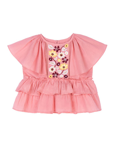 Evie Embroidered Peplum Top, Size 4-6