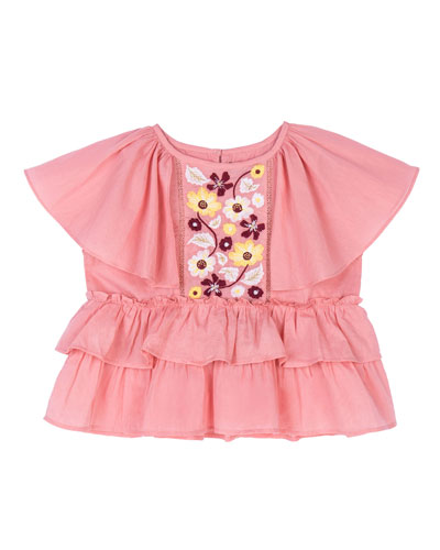 Evie Embroidered Peplum Top, Size 8-12