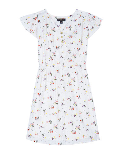 Julieta Floral Cap-Sleeve Dress, Size 4-6