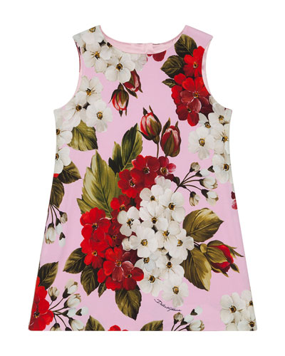 Girl's Blooming Floral A-Line Dress, Size 4-6
