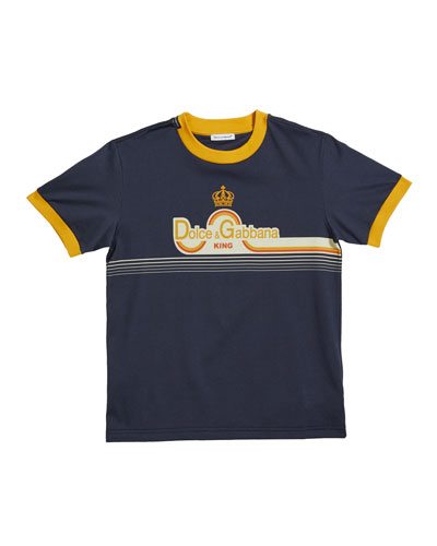 Boy's Summer Smile Striped Logo T-Shirt, Size 8-12