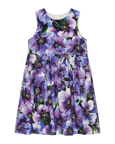 Girl's Blooming Floral Sleeveless Dress, Size 4-6