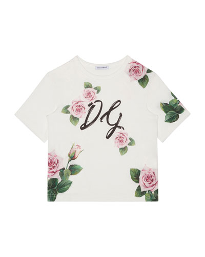 Girl's Scattered Rose DG Graphic Tee, Size 8-12