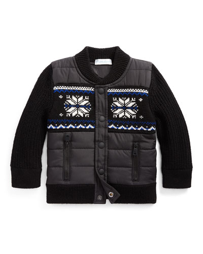Boy's Merino Wool Hybrid Sweater Jacket, Size 6-24 Months