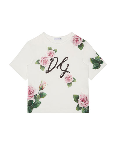 Girl's Scattered Rose DG Graphic Tee, Size 4-6