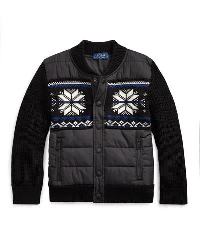 Boy's Merino Wool Hybrid Sweater Jacket, Size 2-4