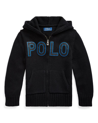 Boy's Knit Hooded Sweater Jacket w/ Silicone Patches, Size 2-4