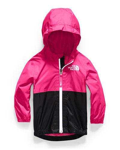 Girl's Zipline Two-Tone Rain Jacket, Size 6-24 Months