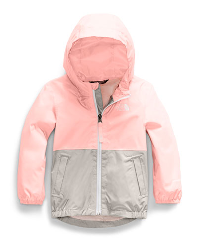 Girl's Zipline Two-Tone Rain Jacket, Size 2-4T