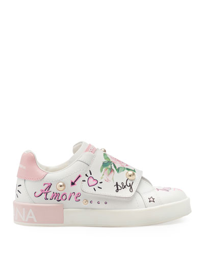 Floral Print Grip-Strap Leather Sneakers, Toddler