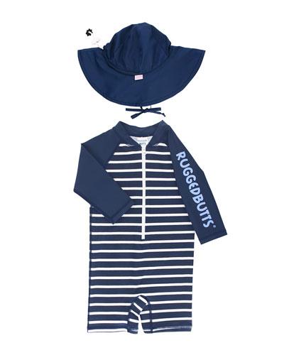Boy's Stripe One-Piece Rash Guard w/ Sun Hat, Size 0-24 Months
