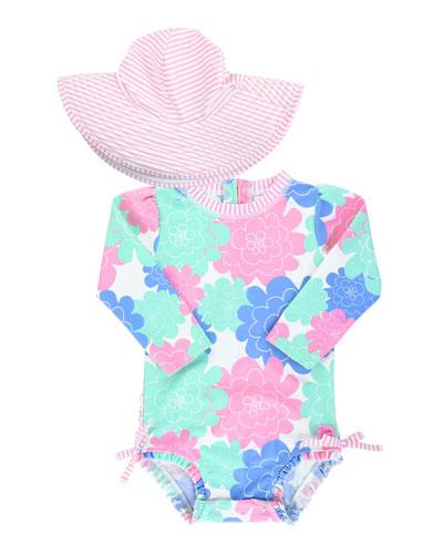 Girl's Floral Print One-Piece Rash Guard w/ Sun Hat, Size 0M-3