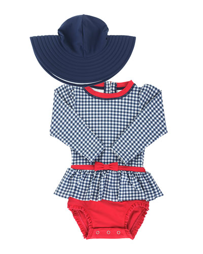 Girl's Gingham Peplum One-Piece Rash Guard w/ Sun Hat, Size 0M-3