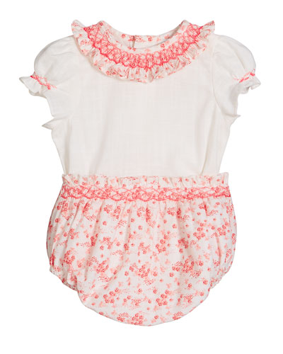 Girl's Coral Floral-Print Smocked Top w/ Bloomers, Size 3-9 Months