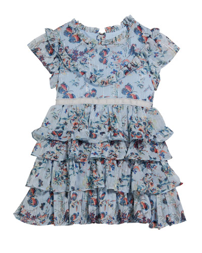 Girl's Serenity Floral-Print Tiered Dress, Size 2-6