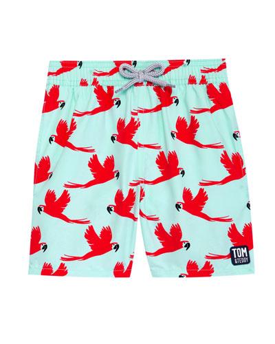 Boy's Parrot Print Swim Trunks, Size 3T-12