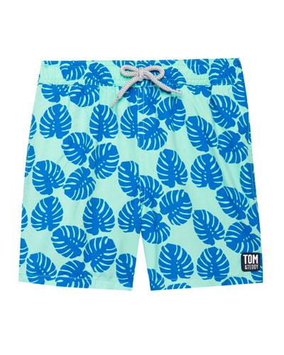 Boy's Leaf Print Swim Trunk, Size 3T-12
