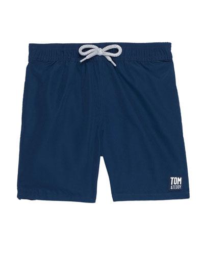 Boy's Solid Drawstring Swim Trunks, Size 3T-12