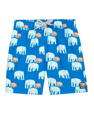 Boy's Elephant Print Swim Trunks, Size 3T-12