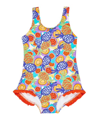 Girl's Multicolor Tropical-Print One-Piece Tank Swimsuit, Size 2-6X