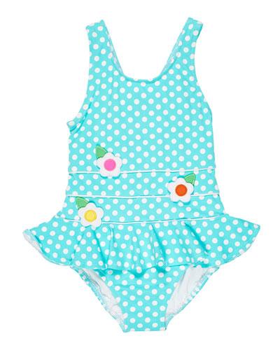 Polka Dot Ruffle-Skirt One-Piece Swimsuit, Size 2-6X