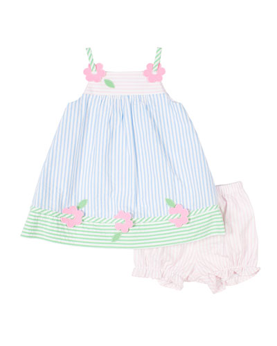Multi Pastel Striped Seersucker Dress w/ Bloomers, Size 3-24 Months