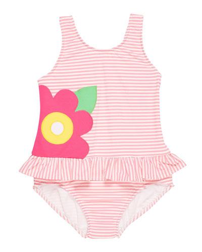 Striped Seersucker Ruffle Skirt One-Piece Swimsuit, Size 2-6X
