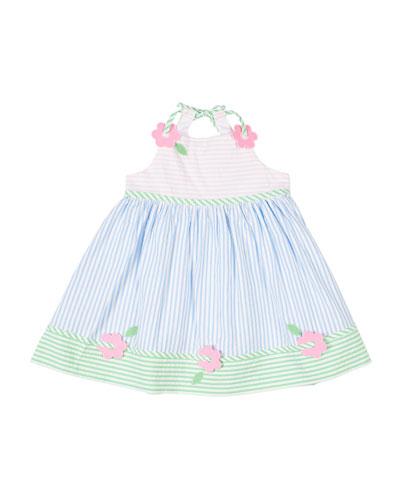 Multi Pastel Striped Seersucker Dress w/ Flowers, Size 4T-3