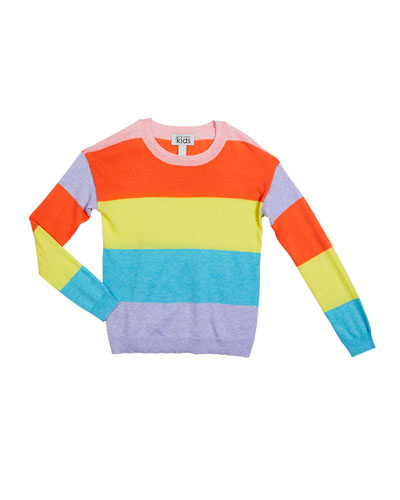 Girl's Striped Crewneck Sweater, Size 8-16