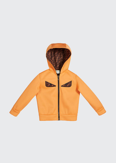 Boy's Reversible Hooded Logo Jacket with Eyes, Size 4-6