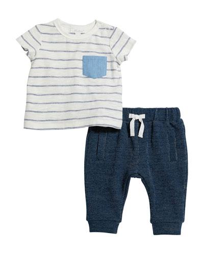 Stripe Pocket Tee w/ Drawstring Pants, Size 3-24 Months
